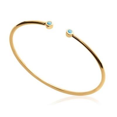 Bracelet Jonc en plaqué or et pierre turquoise pour femme