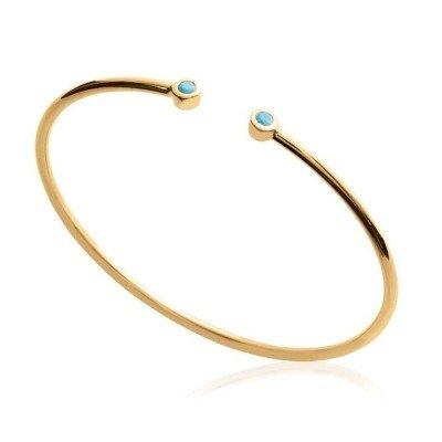 Bracelet Jonc en plaqué or et pierre turquoise pour femme - Melo - Lyn&Or Bijoux