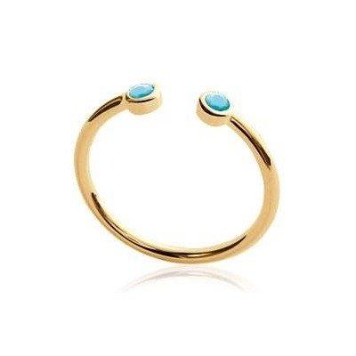 Bague femme, anneau ouvert en plaqué or et pierre turquoise - Melo - Lyn&Or Bijoux