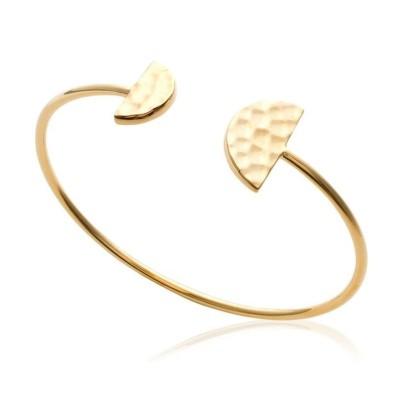 Bracelet jonc demi-cercle en plaqué or martelé pour femme