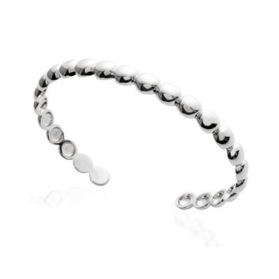 Bracelet Jonc perlé en argent rhodié pour femme - Solia - Lyn&Or Bijoux