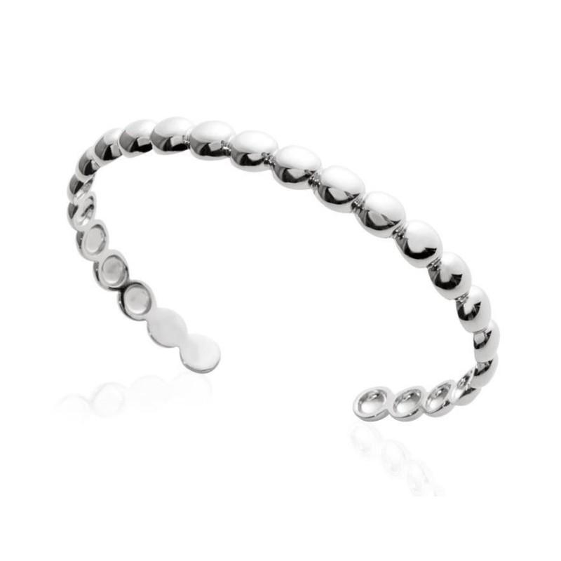 Bracelet Jonc perlé en argent rhodié pour femme