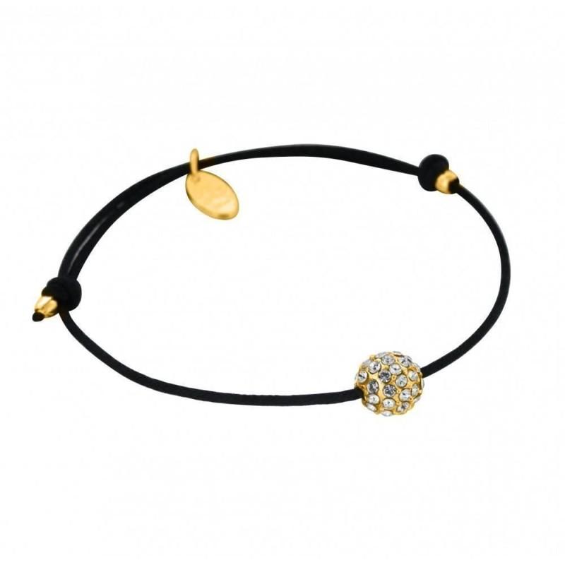 Bracelet plaqué or, cordon noir, Sphère de cristal de Swarovski
