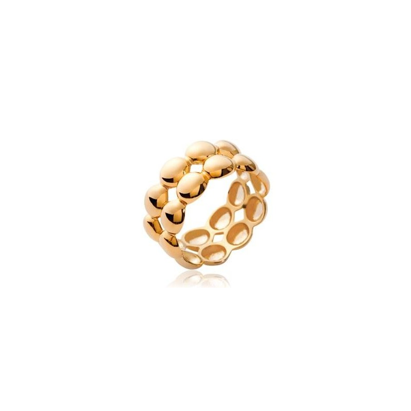 Bague femme en plaqué or, 2 rangs de perles dorées - Solia - Lyn&Or Bijoux