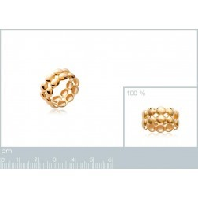 Bague perlée double rang en plaqué or - Bijoux femme