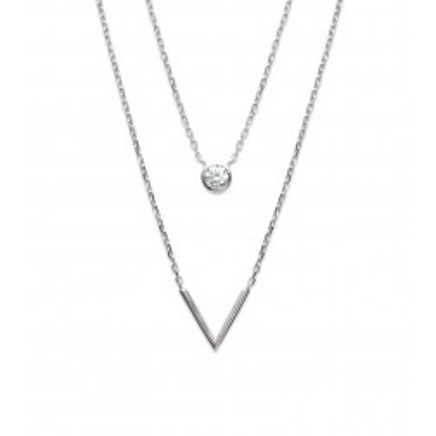 Double collier en argent rhodié et zircon pour femme
