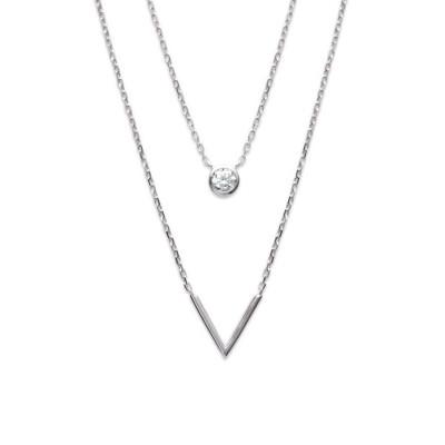 Double collier en argent rhodié et zircon pour femme - Voletta - Lyn&Or Bijoux