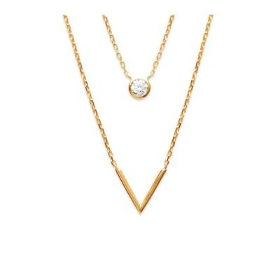Double collier en plaqué or et zircon pour femme