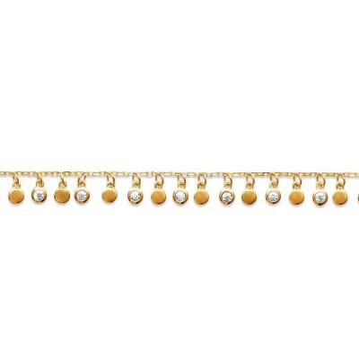 Bracelet oriental en plaqué or et zircon pour femme