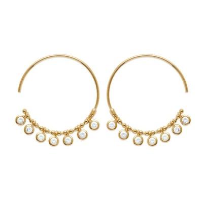 Créoles orientales en plaqué or et zircon pour femme - Ybel - Lyn&Or Bijoux