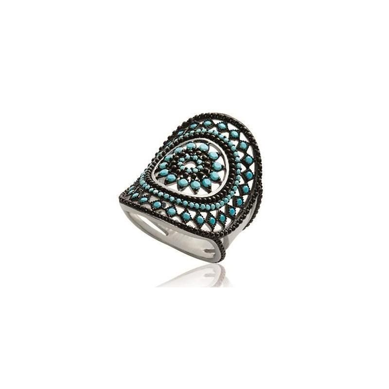 Grosse bague femme, argent et pierres turquoises, motif indien - Ydali - Lyn&Or Bijoux