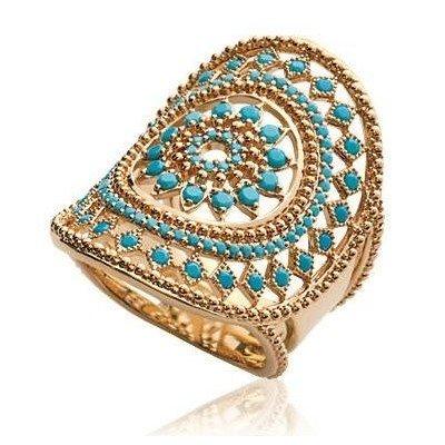 Grosse bague femme en plaqué or & pierres turquoises - Ydali - Lyn&Or Bijoux