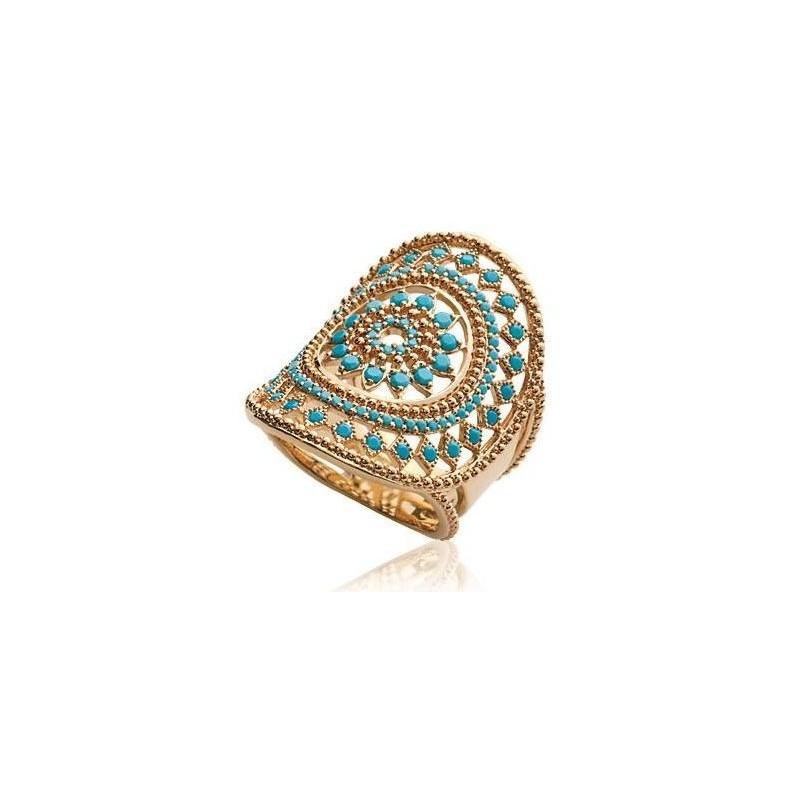 nouveau design promotion spéciale sensation de confort Bague en plaqué or et pierre turquoise - Ydali
