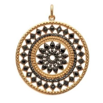 Pendentif en plaqué or et pierre noire pour femme