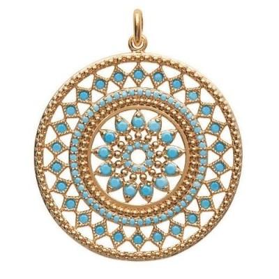 Pendentif en plaqué or et pierre turquoise pour femme