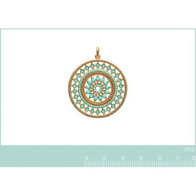 Pendentif en plaqué or et pierre turquoise - Bijoux Femme