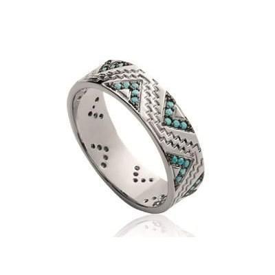 Bague en argent rhodié et pierre turquoise pour femme