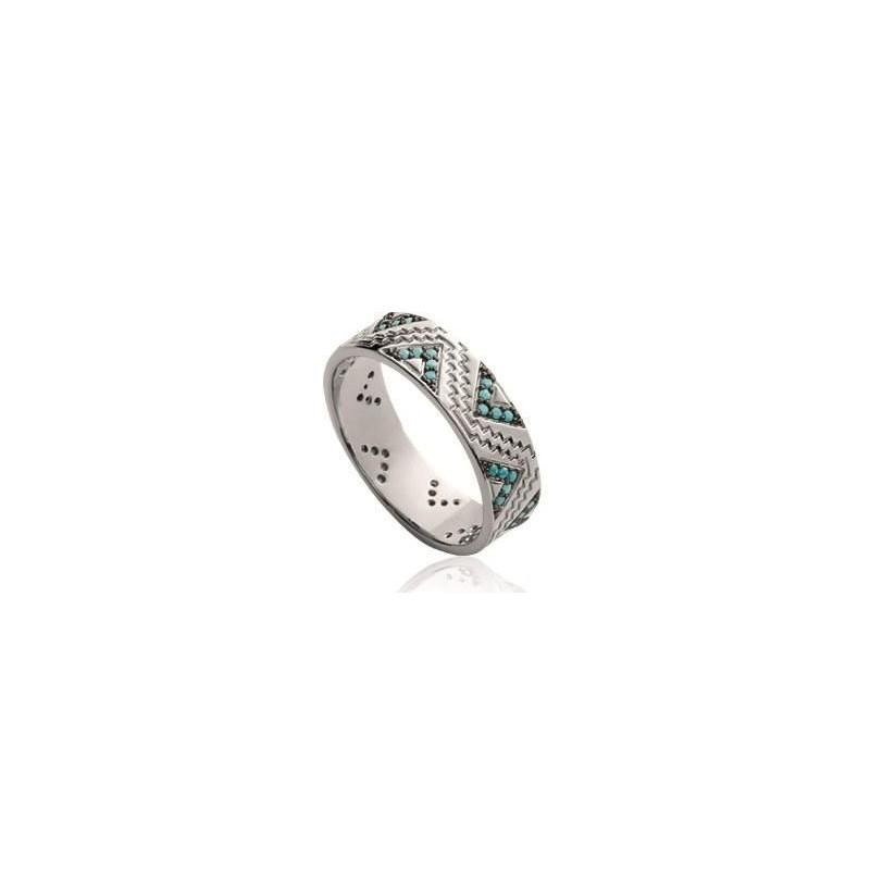 Bague femme, anneau en argent rhodié & pierre turquoise - Ysena - Lyn&Or Bijoux