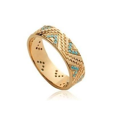 Bague en plaqué or et pierre turquoise pour femme