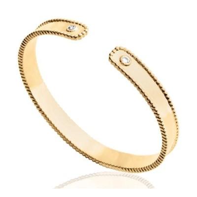 Bracelet Jonc en plaqué or et zircon pour femme - Suzy - Lyn&Or Bijoux