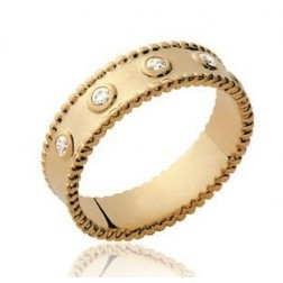 Bague originale en plaqué or et zircon pour femme