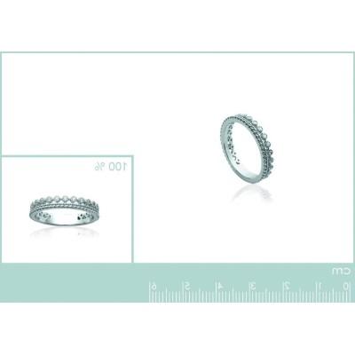 Alliance ou anneau en argent rhodié et zircon pour femme