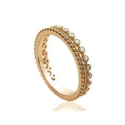 Alliance pour femme originale en plaqué or & zircon - Ekolia - Lyn&Or Bijoux