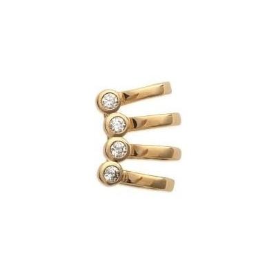 Bague d'oreille en plaqué or et zircon pour femme - Boucles d'oreilles