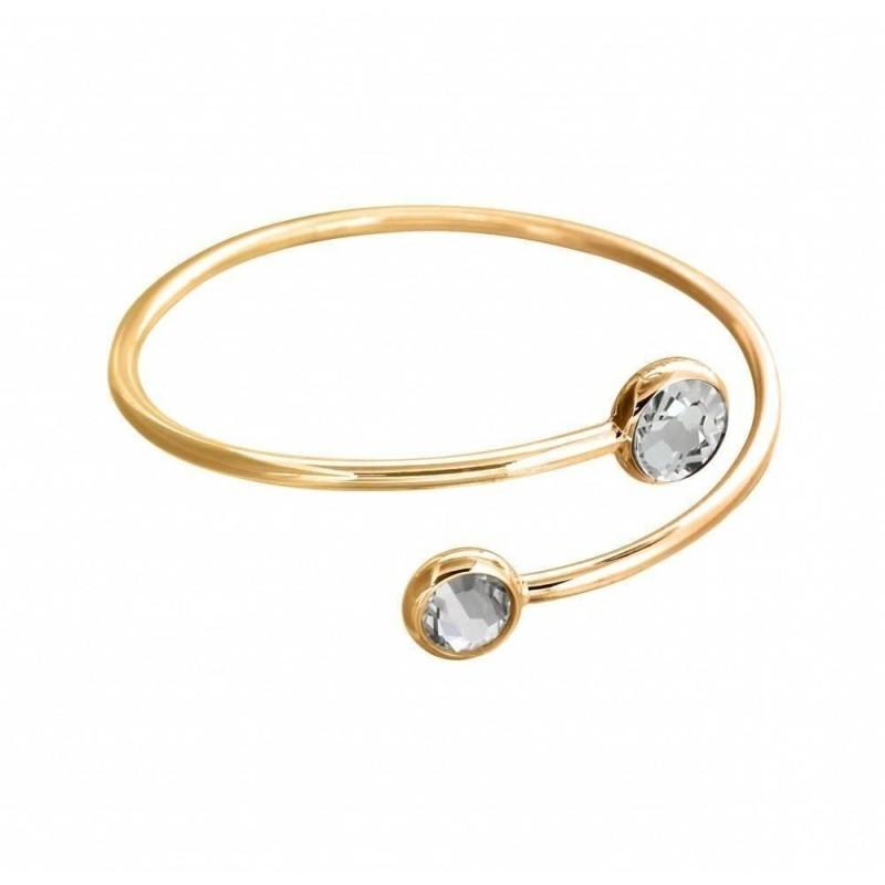 Bracelet Jonc en plaqué or, cristal de Swarovski noir et blanc