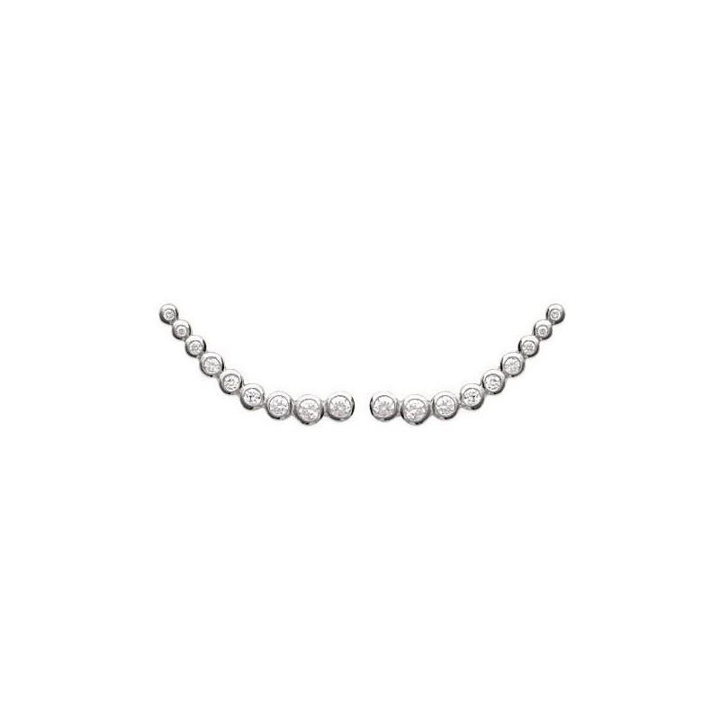 Contours d'oreilles en argent rhodié et zircon pour femme
