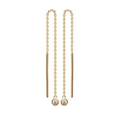 Chaînes d'oreilles en plaqué or et zircon pour femme - Alice - Lyn&Or Bijoux