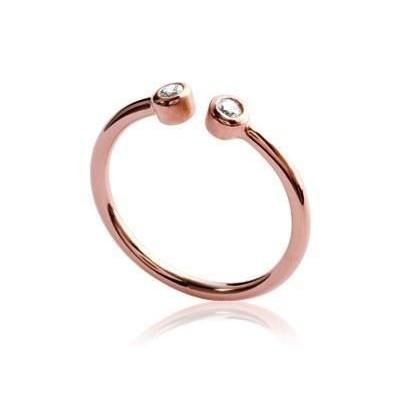 Bague ouverte en plaqué or rose et zircon pour femme