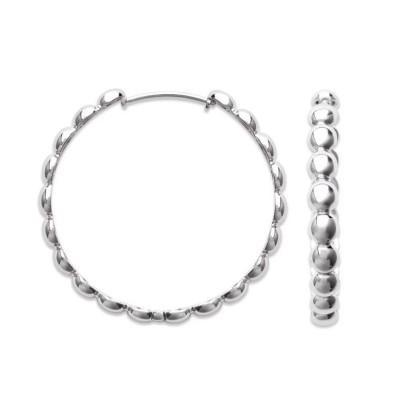 Créoles perlées en argent rhodié 40 mm pour femme - Solia - Lyn&Or Bijoux