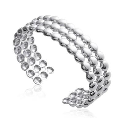 Bracelet manchette perlé en argent rhodié pour femme - Solia - Lyn&Or Bijoux