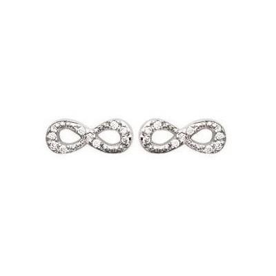 Boucles d'oreilles Infini en argent et zircon pour femme - Pilar - Lyn&Or Bijoux