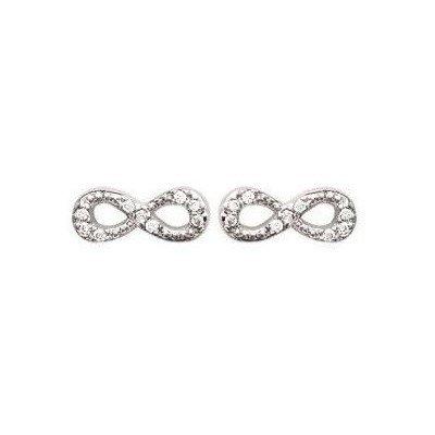 Boucles d'oreille Infini en argent et zircon pour femme - Pilar - Lyn&Or Bijoux