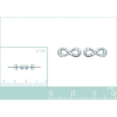 Boucles d'oreilles pour femme symbole infini en argent et zircon, Pilar