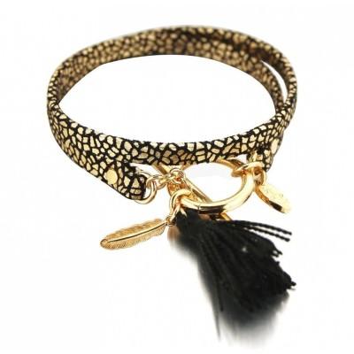 Bracelet créateur doré et noir en cuir pour femme - Pompon - Lyn&Or Bijoux