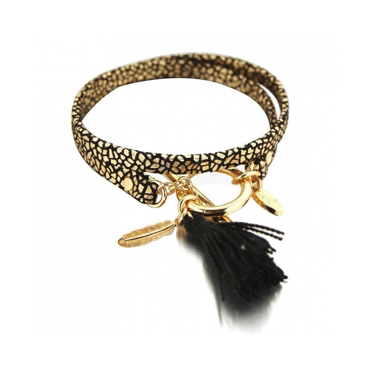 bracelet dor et noir en cuir craquel par zo bijoux. Black Bedroom Furniture Sets. Home Design Ideas