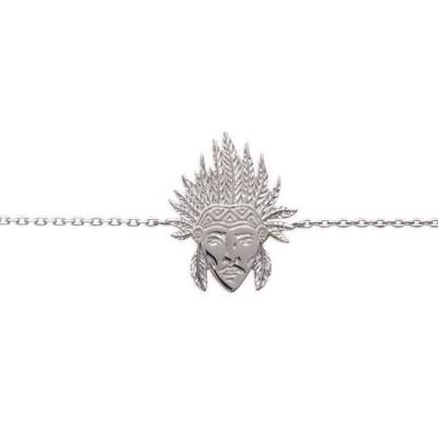 Bracelet en argent rhodié pour femme - Tête d'indien - Lyn&Or Bijoux