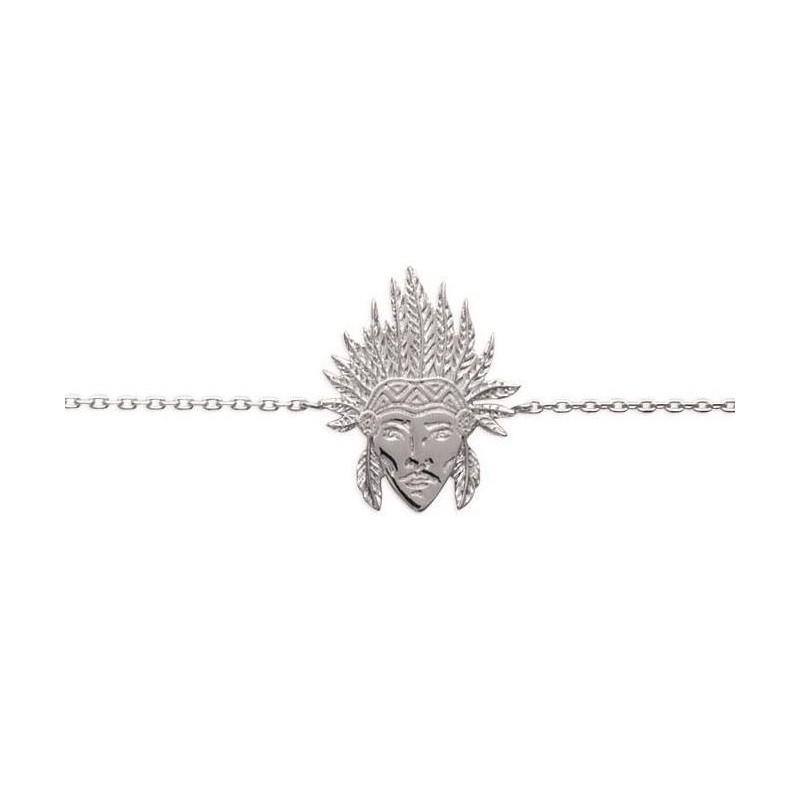 bracelet pour femme en argent 925/1000 pour femme, Tête d'indien - Bijoux femme