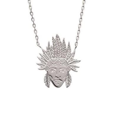 collier pour femme en argent 925/1000 pour femme, Tête d'indien - Bijoux femme