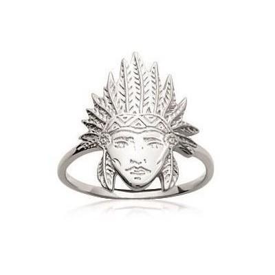bague pour femme en argent 925/1000 pour femme, Tête d'indien - Bijoux femme