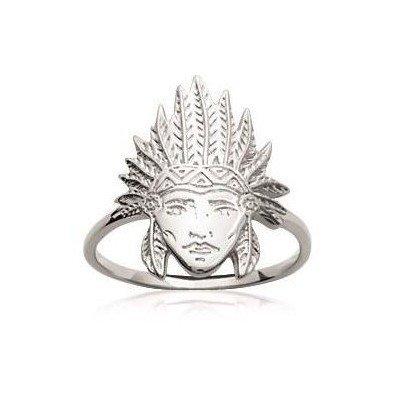 Bague femme en argent rhodié - Tête d'indien - Lyn&Or Bijoux