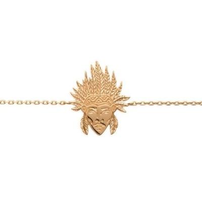bracelet pour femme en plaqué or pour femme, Tête d'indien