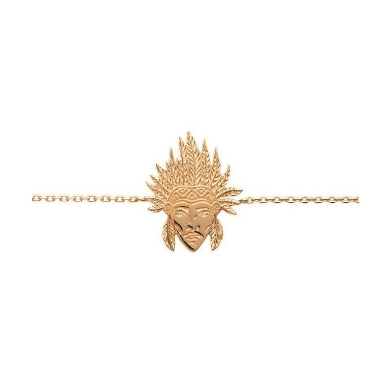 Bracelet en plaqué or pour femme - Tête d'indien - Lyn&Or Bijoux