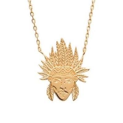 collier pour femme en plaqué or pour femme, Tête d'indien