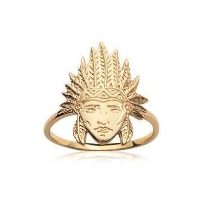 Bague en plaqué or pour femme - Tête d'indien - Lyn&Or Bijoux