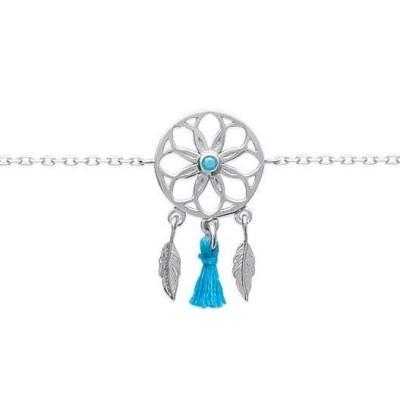 bracelet pour femme en argent 925/1000 et pierre turquoise, Attrape-rêve