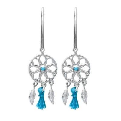 Boucles d'oreilles pour femme argent et pierre turquoise, Attrape-rêve